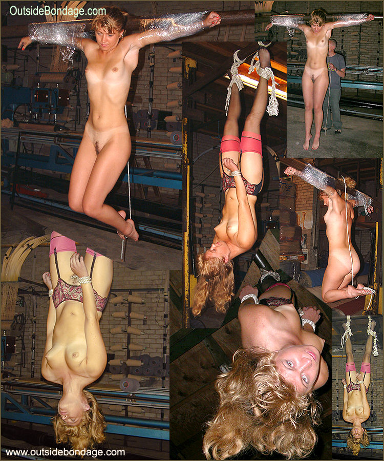 Naked woman hanging upside down bondage